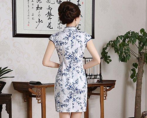Luck Robe Courte Chinois Qipao pour Femme Inprimé Sans Manche Porcelaine de couleur en Coton Porcelaine de couleur