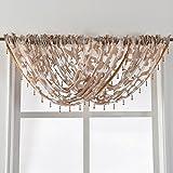 NAPEARL im europäischen Stil Jacquard Sheer Vorhang Organza Perlen Querbehang Fenster Behandlung Dekoration, beige, 1 Valance 57
