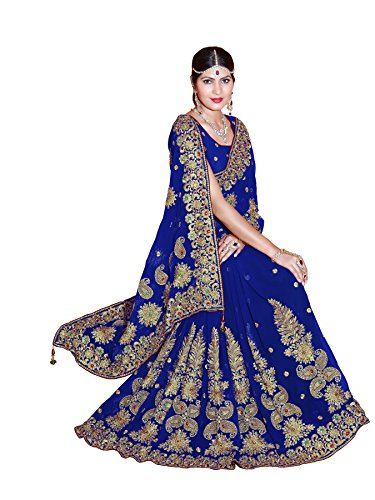 SOURBH Women's Faux Georgette Embroidered Bridal Wedding Saree (3438_Royal Blue)