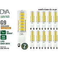 Set di 10 LAMPADINE LED BISPINA G9 - 7W - 595 Lumen - 220/240V - misure ø 16x60mm - luce calda 3000K° raggio di illuminazione 360° - non dimmerabili