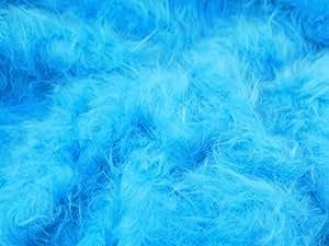 60 cm de largeur-Tissu en fausse fourrure à poil Long Vendu au mètre-Turquoise