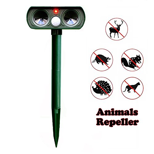 UBEST Ultrasonic Cat Repellent Animal Repeller - Solar Powered Battery Operated Motion