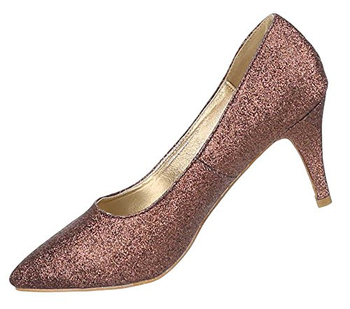 Damen Schuhe Pumps High Heels Bronze