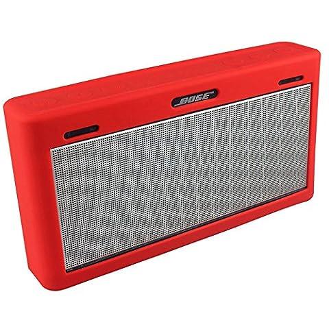 Soundlink Mini 3 Hülle, Soft Travel Tasche Tragetasche Silikon Schutzhülle für Bose Soundlink Mini III Wireless Bluetooth Speaker (rot)