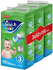 Fine Baby Diapers, DoubleLock Technology , Size 3, Medium 4–9kg, Jumbo Pack. 156 diaper count