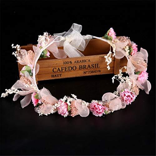 YUMUYMEY Blume Heukranz Brautkleid Zubehör Fee rosa Stirnband Haarband Brautschmuck (Farbe :...