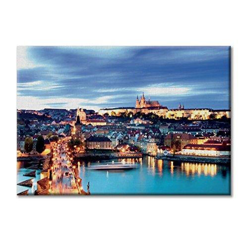Tela Quadro canvas Repubblica Ceca Praga Danubio Ponte City Night Life Arredamento 100x70
