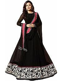 Women's Crepe Digital Printed Black Anarkali Kurti By Karm Enterprise (Free Size Gown Size Kurti For Women)