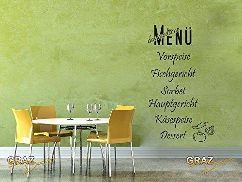Wandtattoo Wandaufkleber Aufkleber für Küche Spruch das moderne Menü (158x90cm//091 gold )