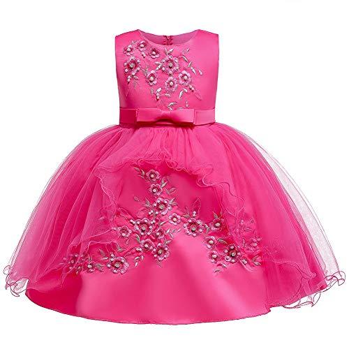 Livoral Mädchen Hochzeitskleid Partykleid Kleinkind Kind mädchen Spitze ärmellose Prinzessin Kleid Partei tüll Kleid Cosplay kostüm(Pink,80)