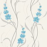 Carta da parati vinilica metallica Muriva Angelica Floreale - Blu 126102