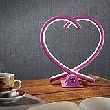 LED Herz-Tischleuchte Valor in pink | Süße Tischlampe mit Touch Sensor, Herzform, Aluminium | Dimmbare Schlafzimmerleuchte, Wohnzimmer, TV-Wand, Dekoherz, Shabby | Love, heart-shape XOXO | 12 W