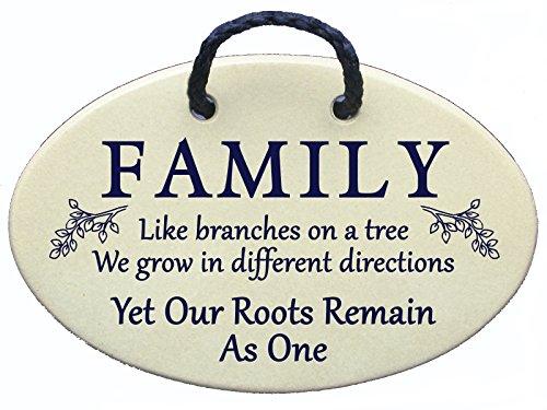 Family like Branches on a Tree, We Grow In Verschiedene Richtungen, yet Our Roots Remain As One. Keramik Wand Kunst Schilder ausschließlich handgefertigt von der gestaltet bei Mountain Meadows Pottery in den USA. Irish Pottery