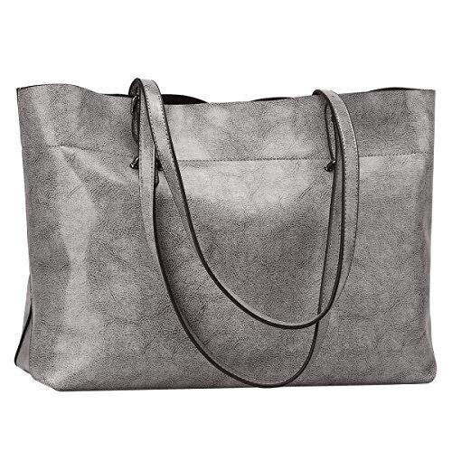 S-ZONE Damen Vintage Echtleder Tote Beutel Schultertasche Handtasche (Grau) (Tote Große Aktentasche)