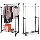 ADJUSTABLE DOUBLE HANGING CLOTHES RAIL & SHOE RACK ORGANISER NEW GARMENT CLOTH - STAINLESS STEEL