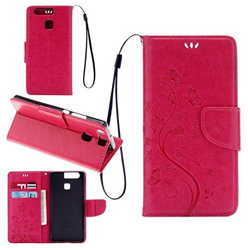 Hülle für iPhone 7 (4.7 zoll), Owbb Schmetterling Blumen Muster Handyhülle PU Ledertasche Flip Cover Wallet Case mit Stand Function Innenschlitzen Design Rose Red(Ein freier Stylus als Geschenk) Rose Red