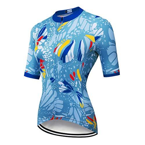 CNBPLS Sommer Damen Kurzarm Fahrradtrikot Fahrrad Mountainbike Bekleidung Bequem atmungsaktiv Schnell trocknend Kurz geschnittene Hose,01,L