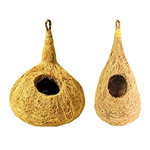 ZENRISE® Coconut Fiber Bird nest Houses for cage Garden Balcony Birds – Pack of 2, Beige
