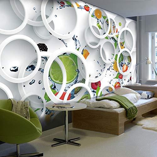 otapete Weiß Ring Zyklus Obst Wandbild Abstrakte Kunst Wand Papier Schlafzimmer Wanddekor ()