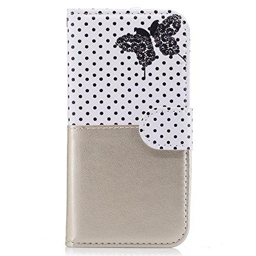 Custodia iPhone 6S, iPhone 6 Cover, ikasus® iPhone 6S/iPhone 6 Custodia Cover [PU Leather] [Shock-Absorption] Abbinamento di colore con Farfalla e Polka Dot modello Protettiva Portafoglio Cover Custod Oro