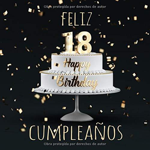 Feliz 18 Cumpleaños: Libro de visitas con 110 páginas - Couverture Negro