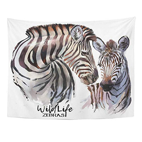 Tapisserie Art Decor Wall, Tapestry Wall Hanging, Black Animal Zebras Painting White African Wild Africa Cute Funny Savannah Stripes 60