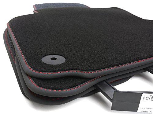 Fußmatten Golf 1K 5K Velours Automatten Premium Original Qualität 4-teilig Schwarz Nubukleder Rand, Rote Naht