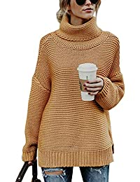 a869c5a63049e6 Poplover Womens Turtleneck Long Sleeve Knitwear Chunky Knit Sweater Jumpers  Pullover Tops
