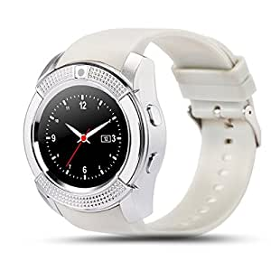 Bastex V8 White Smartwatch / Watchphone with bluetooth Compatible With Karbonn Titanium S9 Lite Mobiles