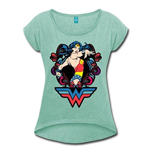 Spreadshirt DC Comics Wonder Woman Pose T-Shirt à Manches Retroussées Femme menthe chiné