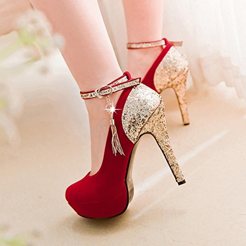 ZHIRONG Tacones altos de la boca de las mujeres Plataforma impermeable Plataforma Rhinestone Zapatos de la boda...