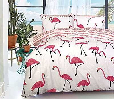 Luxury Printed Floral Stripes PolyCotton Duvet Quilt Cover with Pillowcases Bedding Set - cheap UK light shop.