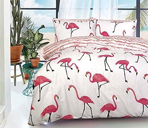 Birght Bettwäscheset, Flamingo, Wendebettwäsche, Bettbezug-Set + Kissenbezüge, 50 % Baumwolle / 50 % Polyester, weiß, (Ge Quilt Designs)