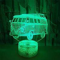 Lámpara 3D Luz Para Dormir Del Bebé De,Autobús Pequeño,Lámpara De Mesa De