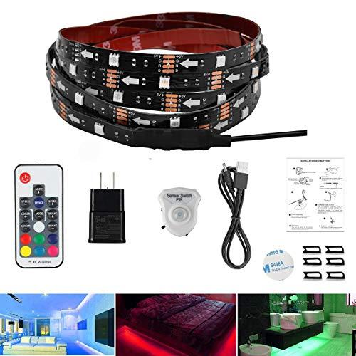 AveyLum LED Streifen Bewegungs Aktiviertes Bettlicht 1,5 Meter RGB LED Seillicht Bewegungssensor Nachtlicht Nachttischlampe mit automatischer Abschaltzeit und RF Regler für Bett, Treppe, Schrank ...