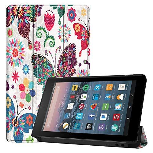 RZL Tablets und Telefon Hüllen und Taschen, Für Amazon Fire 7 Zoll (7./8. Generation, Release 2017/2019), Eulen-Schmetterlings-Blumen-Löwenzahn-Eiffelturm-Design-Smart-Tablet-Hülle, Trifold-Ständer mi