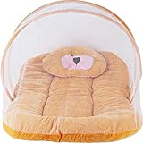 Cotton Kids Littly Contemporary Cotton Baby Bedding Set With Foldable Mattress, Mosquito Net And Pillow - Mosquito Net(Brown)