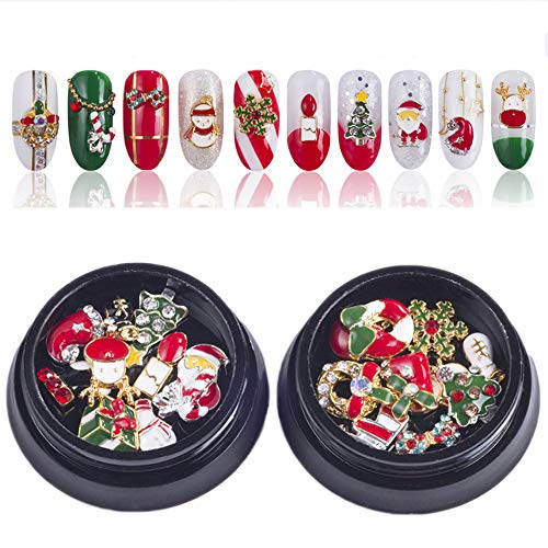 2 Box Nail Art Strass Set Strass steine Nagel Kunst Dekorationen, Kalolary 3D-Diamanten für Weihnachten Glitzer Strasssteine Nagelschmuck
