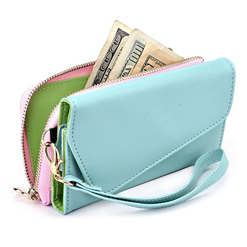 Kroo d'embrayage portefeuille avec dragonne et sangle bandoulière pour Smartphone Nokia 515 Black and Orange Green and Pink