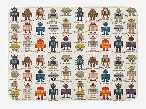 ARTOPB Kids Bath Mat, Various Different Super Robot Figures Set in Cartoon Style Fantasy Futuristic Machine, Plush Bathroom Decor Mat with Non Slip Backing, 23.6 W X 15.7 W Inches, Multicolor