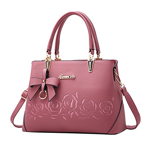 TianWlio Handtasche Damen Mode Bowknot Rose Muster Crossbody Bag Schultertasche Handtasche Rosa