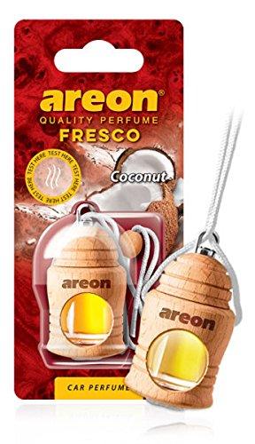 Areon Fresco Deodorante Auto Cocco Profumo Dolce Tropical Legno Bottiglie Da Appendere Specchietto Liquido Pendente Vetro Boccetta Originali Bianco Legami 4ml 3D Casa ( Coconut Confezione x 1 )