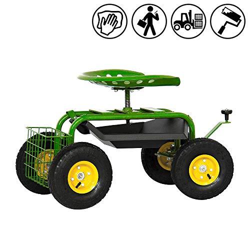 Froadp Gartenwagen Rollsitz Mobile Hocker Kunststoff Kniebänke 97x44x86cm Gartenhelfer Rollwagen Sichere Last 150KG für Garten oder bei der Auto Pflege (Typ C)