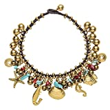 81stgeneration Women's Brass Gold Tone Simulated Turquoise Simulated Coral Anklet Bracelet, 26cm