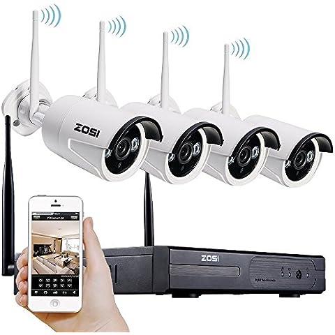 [Mejor que 720P] ZOSI 960P (1280x960) AUTO PAIR 4CH CCTV NVR KIT de Vigilancia Inalámbrica Sistema de Seguridad con 4pcs 1.3MP Cámaras Exterior / Interior Día / Noche, Vísion Nocturna 30M, Detección Movimiento, Código QR para IP Cámaras WIFI Free APP para Android / Iphone/ Ipad / PC