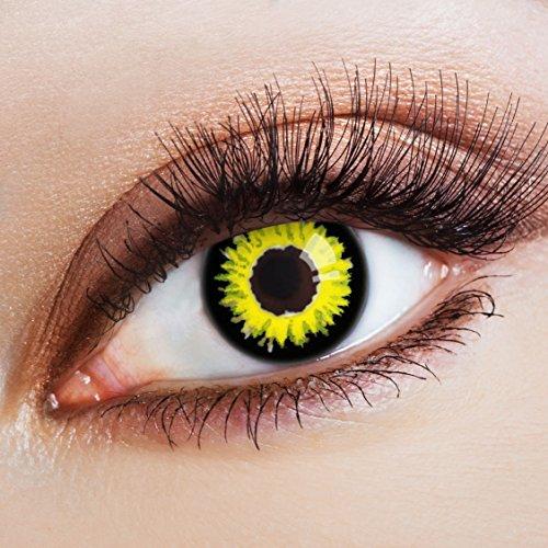 aricona Farblinsen Dämon Kontaktlinsen gelb schwarze 12 Monatslinsen für dein Halloween Kostüm bunte farbige Motiv Jahreslinsen für Cosplay & Fasching (Dämonen Kostüme)