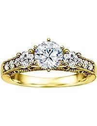 Silvernshine 1.30 Carat White Diamond CZ 14k Yellow Gold Plated Three Stone Engagement Ring