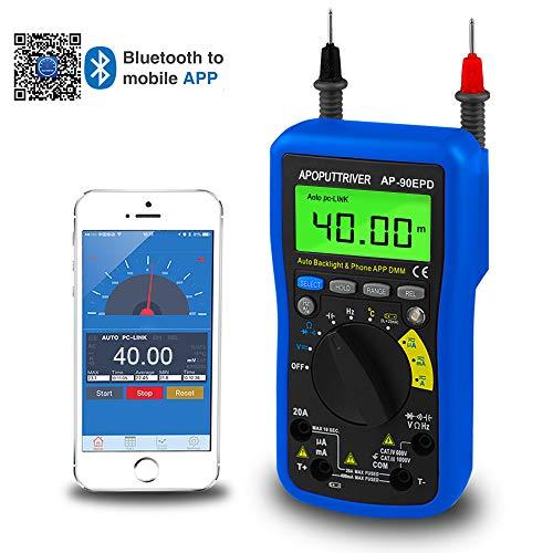 Digitales Multimeter AP-90EPD,APP-Datensatz,4000 Zähler Auto-Ranging Messung AC/DC-Spannung und Strom/Widerstand/Kapazität/Temperatur/Frequenz/Arbeitszyklus/Dioden und Batterietest