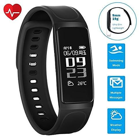 Tracker d'activité, CHEREEKI Bluetooth 4.0 Smart Brecelet avec Moniteur de fréquence cardiaque 0,96'' écran Tactile / Activité Tracker / Pédomètre / Moniteur de Veille / Notification d'Appel pour iPhone 7 Plus 6 Samsung S8 et autres Android et iPhone iOS Smartphones