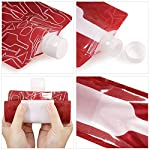 Jarger Foldable Wine Bag, 750 ml, Portable Reusable Plastic Wine Bottle Pouch, 4 Pack Collapsible Liquid Leak Proof Flask Holder for Wine Liquor Beverages, Travel, Gift - Red 14